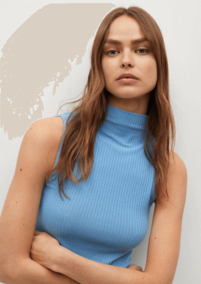 Suéteres de Cuello Alto Sin Mangas
