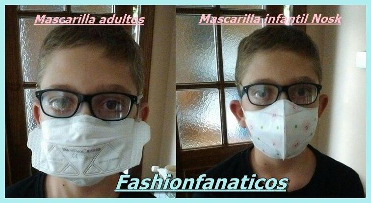 antes y después de las mascarillas infantiles de Nosk España