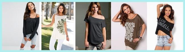 Tendencias moda: Camisetas con escote asimétrico