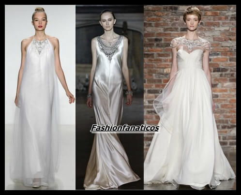 Vestidos de novia con collares incorporados