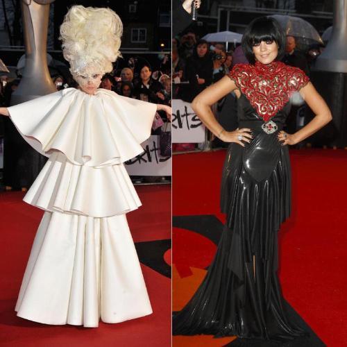 Lady Gaga y Lily Allen sorprenden con su estilismo en los Brit Awards