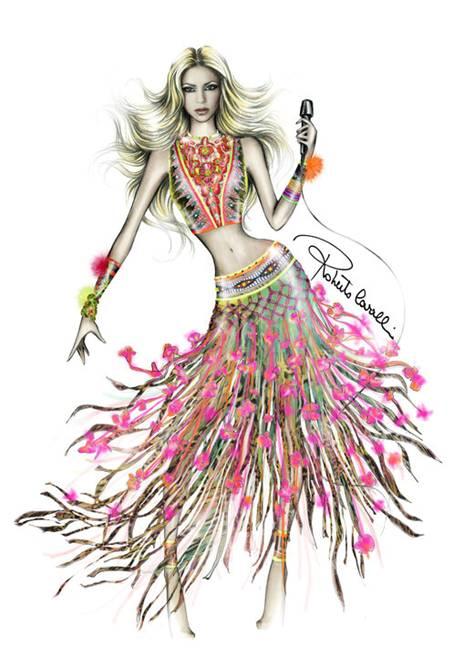 Boceto del vestido que lucirá Skahira