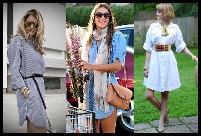 diferentes vestidos camiseros