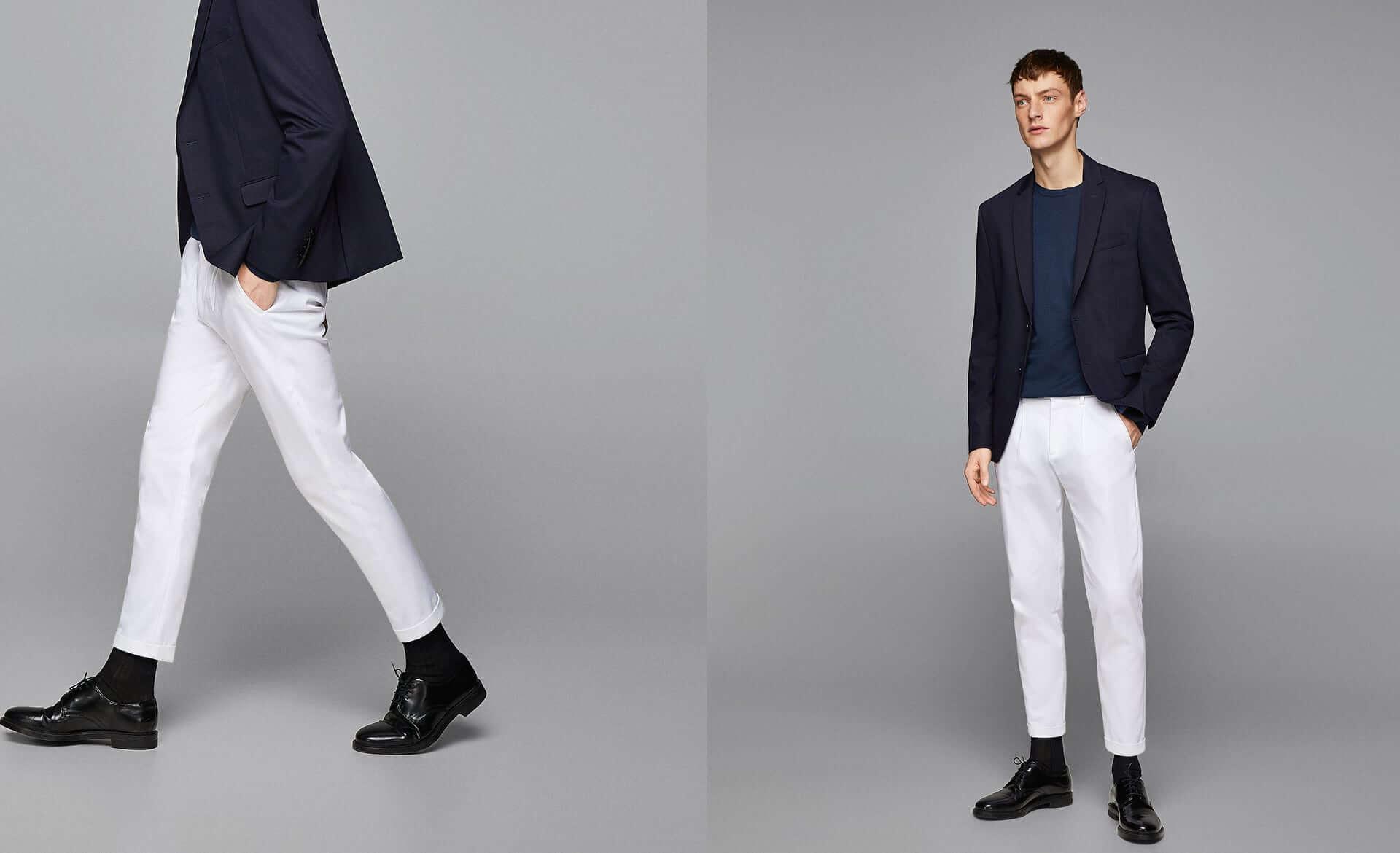 Tendencias hombre, bajos de los pantalones remangados
